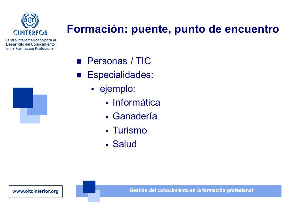 www.oitcinterfor.org Gestión del conocimiento en la formación profesional Centro Interamericano para el Desarrollo del Conocimiento en la Formación Profesional Formación: puente, punto de encuentro Personas / TIC Especialidades: ejemplo: Informática Ganadería Turismo Salud