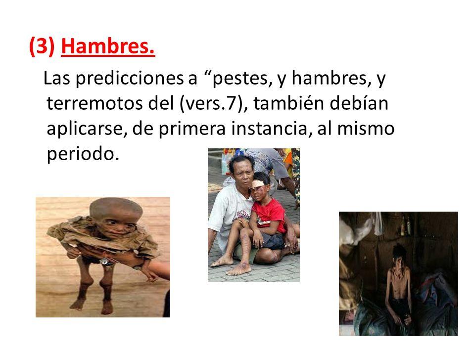(3) Hambres. Las predicciones a pestes, y hambres, y terremotos del (vers.7), también debían aplicarse, de primera instancia, al mismo periodo.