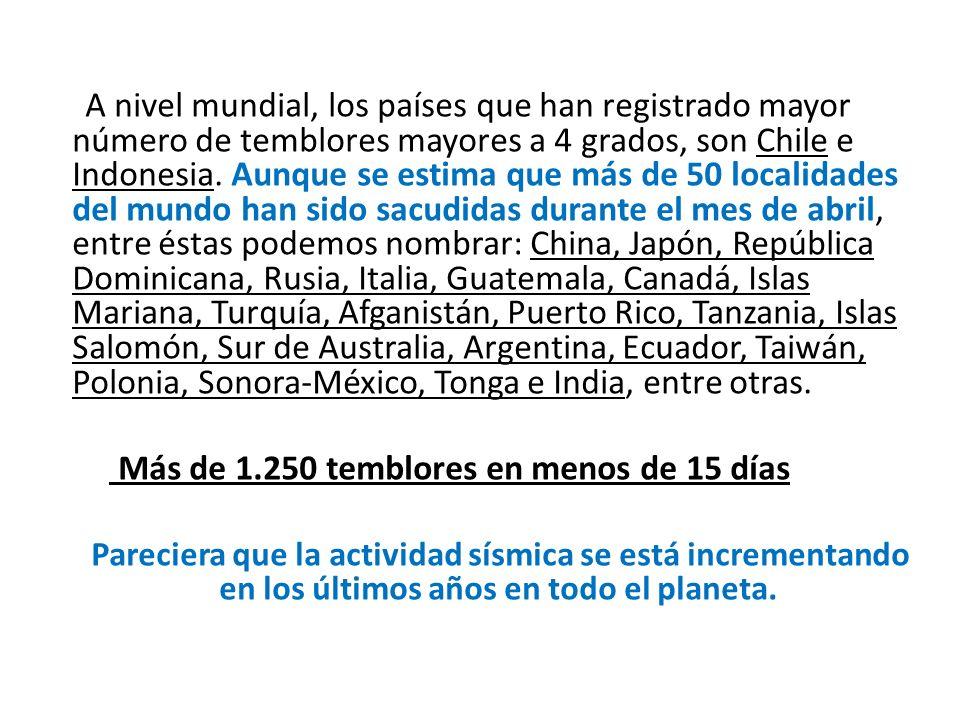 A nivel mundial, los países que han registrado mayor número de temblores mayores a 4 grados, son Chile e Indonesia. Aunque se estima que más de 50 loc