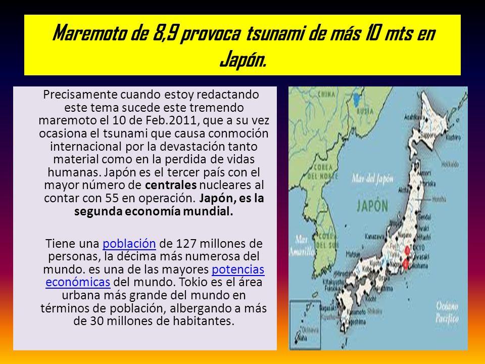 Maremoto de 8,9 provoca tsunami de más 10 mts en Japón. Precisamente cuando estoy redactando este tema sucede este tremendo maremoto el 10 de Feb.2011