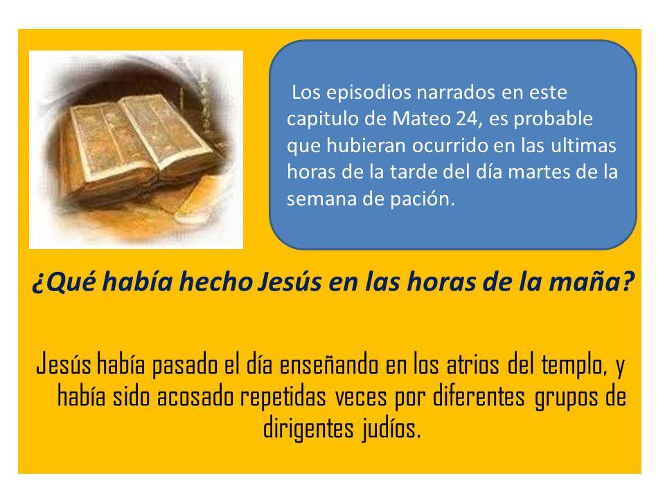 ¿Qué había hecho Jesús en las horas de la maña? Jesús había pasado el día enseñando en los atrios del templo, y había sido acosado repetidas veces por