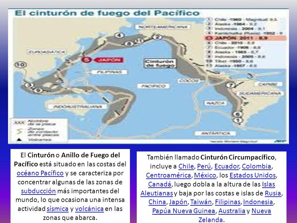 El Cinturón o Anillo de Fuego del Pacífico está situado en las costas del océano Pacífico y se caracteriza por concentrar algunas de las zonas de subd