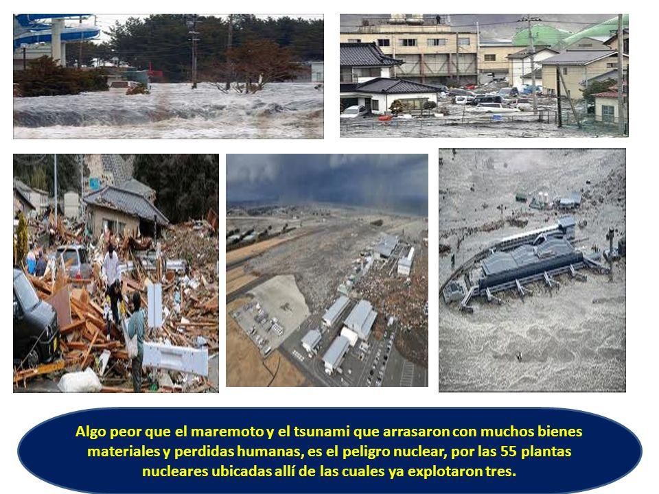 Algo peor que el maremoto y el tsunami que arrasaron con muchos bienes materiales y perdidas humanas, es el peligro nuclear, por las 55 plantas nuclea