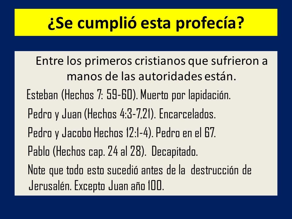¿Se cumplió esta profecía? Entre los primeros cristianos que sufrieron a manos de las autoridades están. Esteban (Hechos 7: 59-60). Muerto por lapidac