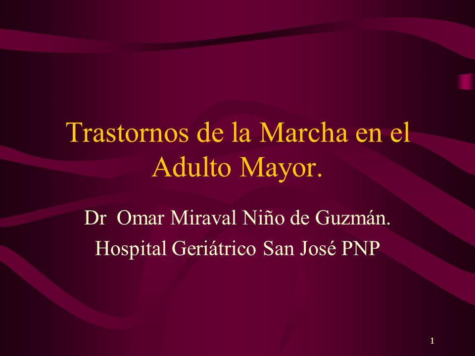 1 Trastornos de la Marcha en el Adulto Mayor. Dr Omar Miraval Niño de Guzmán. Hospital Geriátrico San José PNP