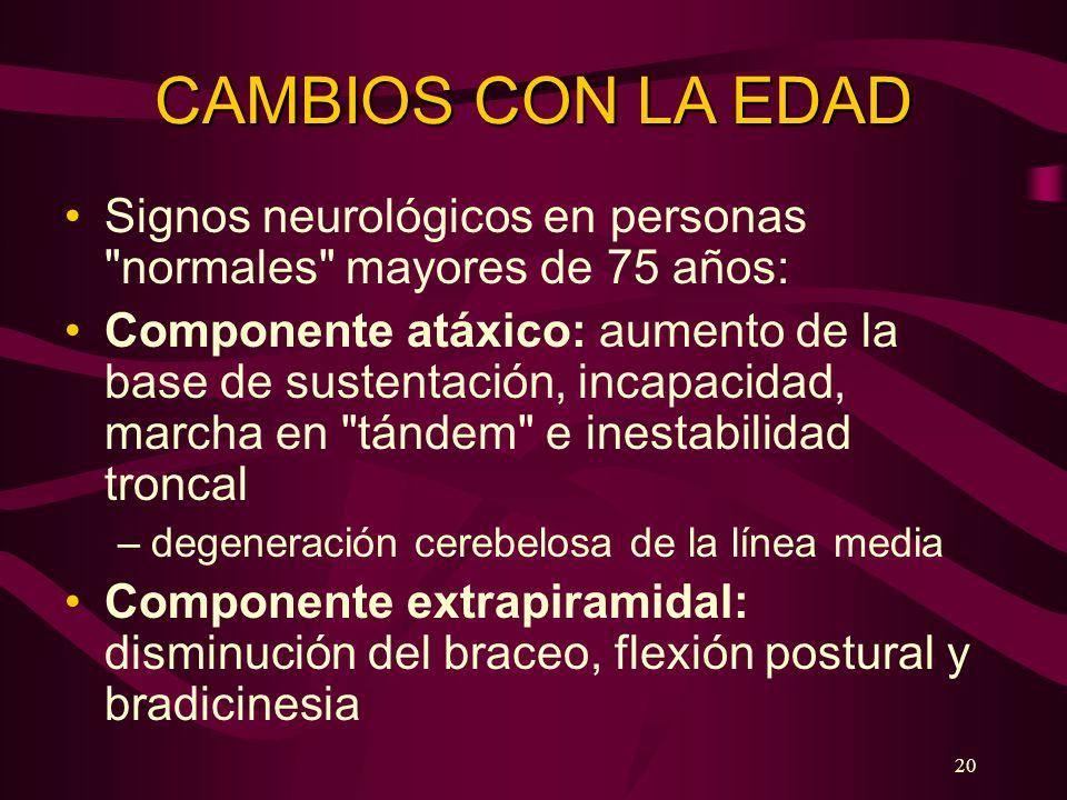 20 CAMBIOS CON LA EDAD Signos neurológicos en personas