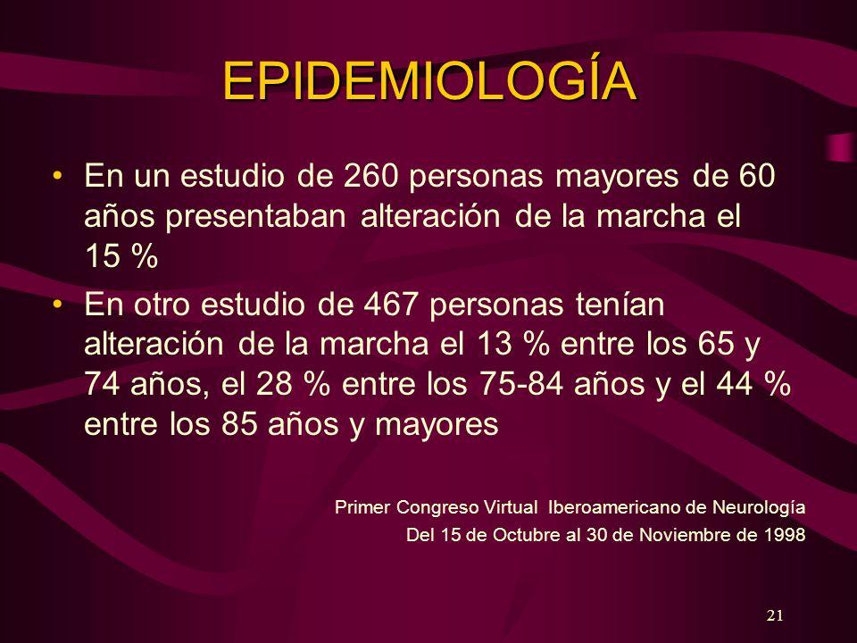 21 EPIDEMIOLOGÍA En un estudio de 260 personas mayores de 60 años presentaban alteración de la marcha el 15 % En otro estudio de 467 personas tenían a