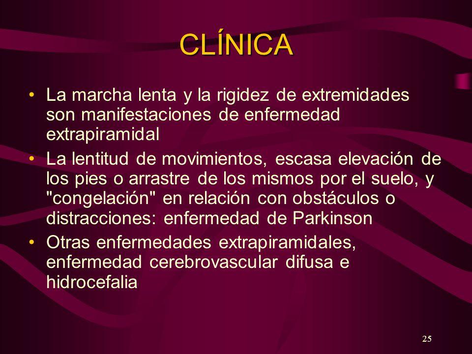 25 CLÍNICA La marcha lenta y la rigidez de extremidades son manifestaciones de enfermedad extrapiramidal La lentitud de movimientos, escasa elevación