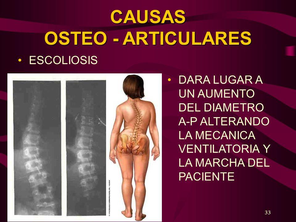 33 CAUSAS OSTEO - ARTICULARES ESCOLIOSIS DARA LUGAR A UN AUMENTO DEL DIAMETRO A-P ALTERANDO LA MECANICA VENTILATORIA Y LA MARCHA DEL PACIENTE