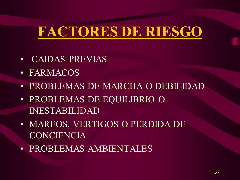 37 FACTORES DE RIESGO CAIDAS PREVIAS FARMACOS PROBLEMAS DE MARCHA O DEBILIDAD PROBLEMAS DE EQUILIBRIO O INESTABILIDAD MAREOS, VERTIGOS O PERDIDA DE CO