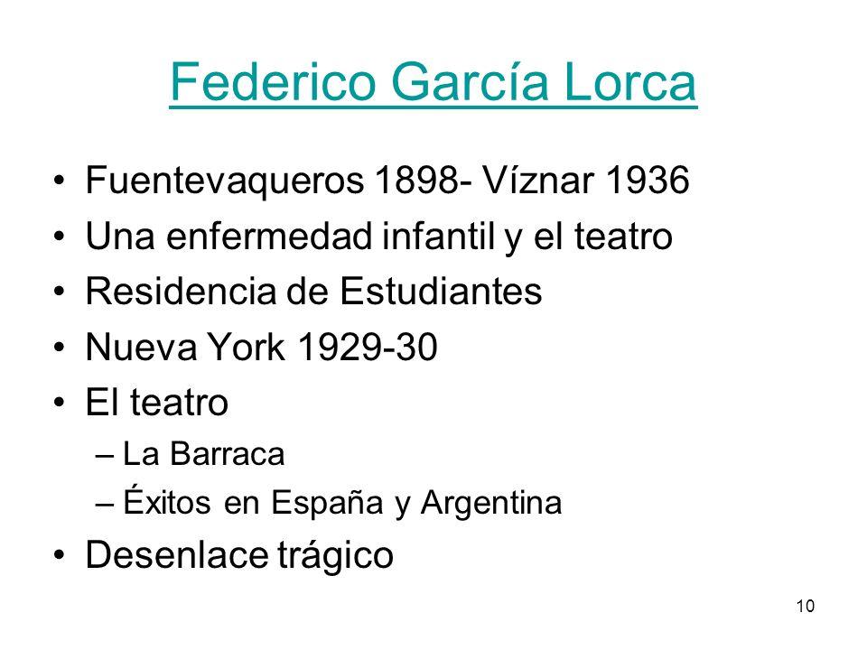 10 Federico García Lorca Fuentevaqueros 1898- Víznar 1936 Una enfermedad infantil y el teatro Residencia de Estudiantes Nueva York 1929-30 El teatro –