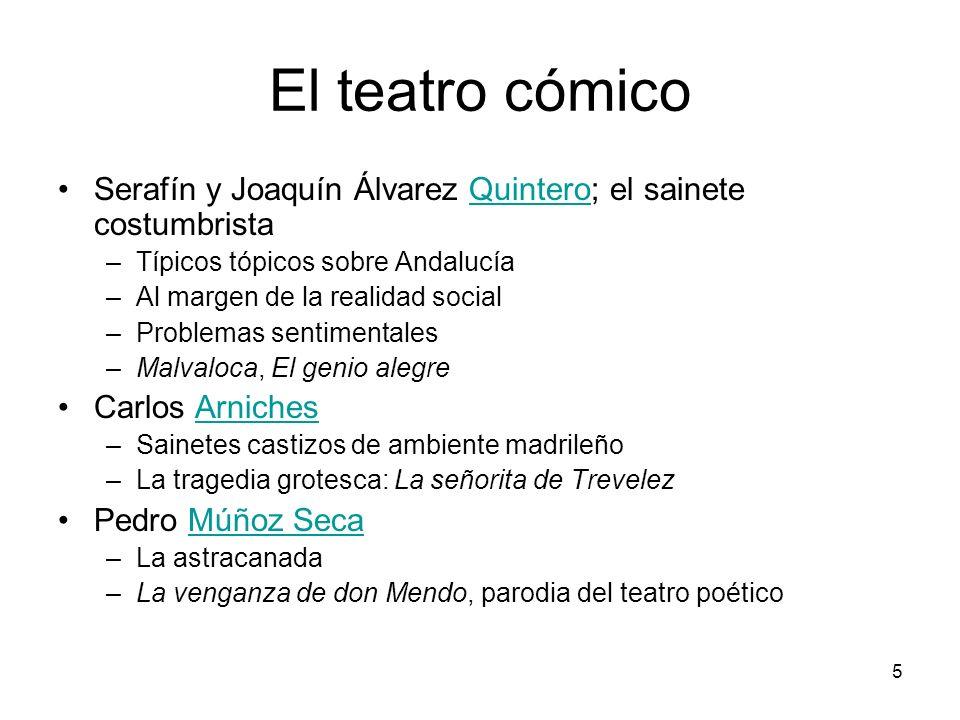 5 El teatro cómico Serafín y Joaquín Álvarez Quintero; el sainete costumbristaQuintero –Típicos tópicos sobre Andalucía –Al margen de la realidad soci