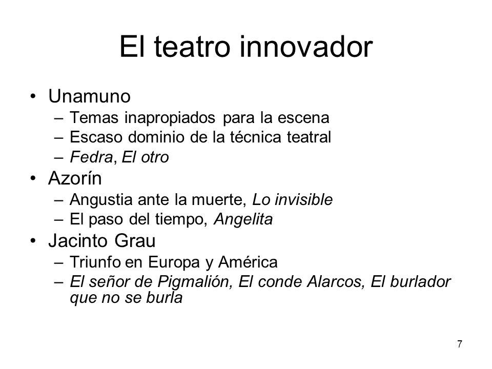7 El teatro innovador Unamuno –Temas inapropiados para la escena –Escaso dominio de la técnica teatral –Fedra, El otro Azorín –Angustia ante la muerte