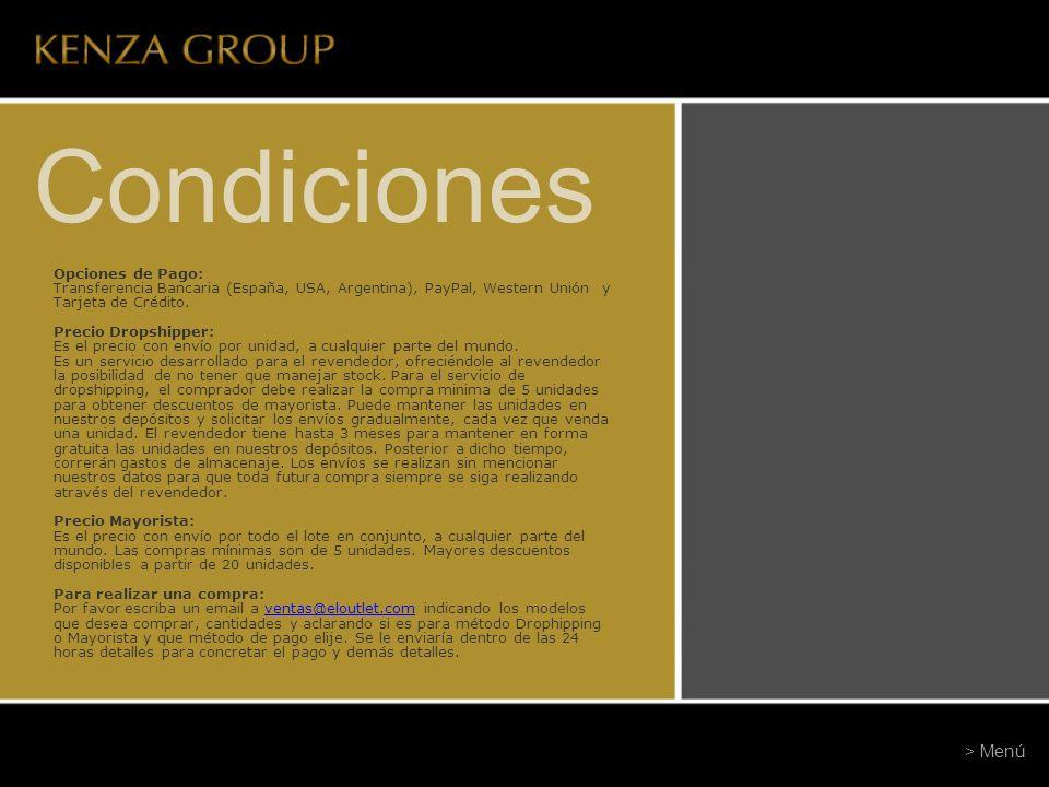 Condiciones Opciones de Pago: Transferencia Bancaria (España, USA, Argentina), PayPal, Western Unión y Tarjeta de Crédito. Precio Dropshipper: Es el p