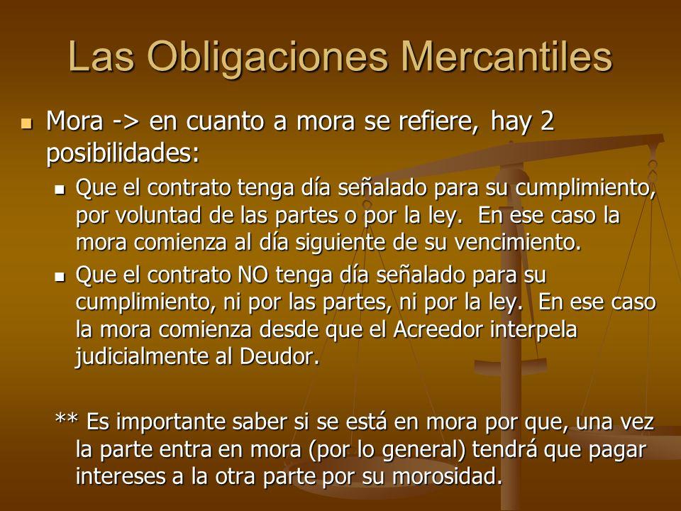 Las Obligaciones Mercantiles Mora -> en cuanto a mora se refiere, hay 2 posibilidades: Mora -> en cuanto a mora se refiere, hay 2 posibilidades: Que e