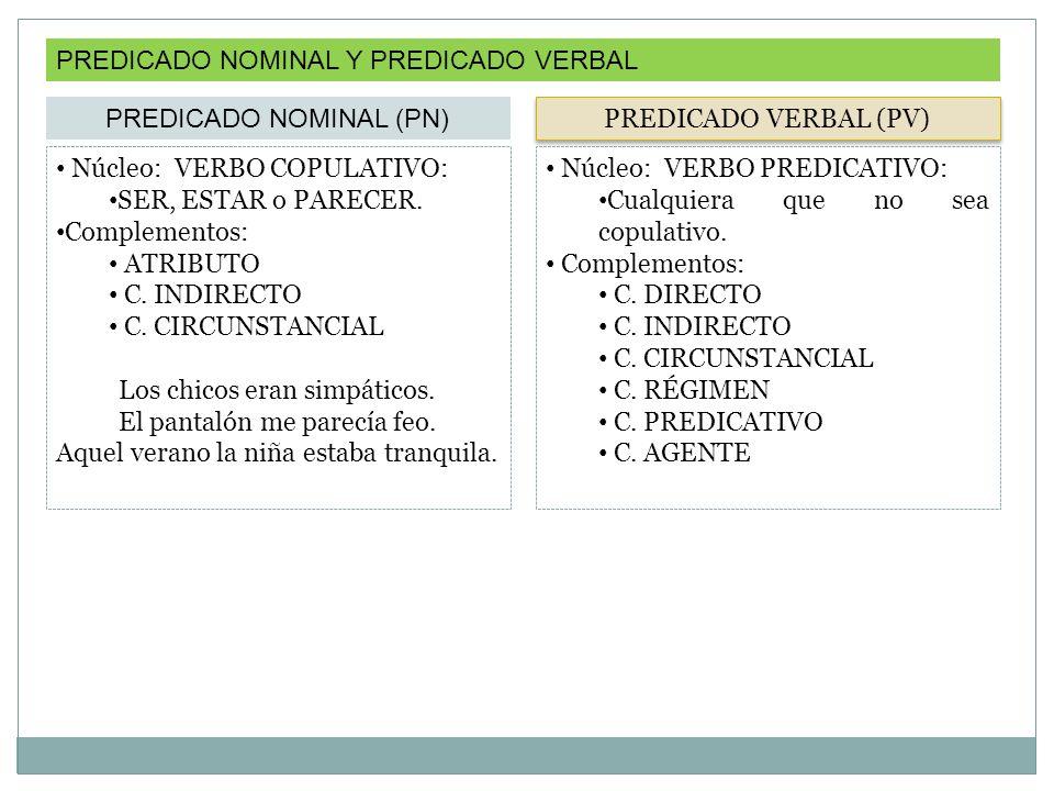 PREDICADO NOMINAL Y PREDICADO VERBAL PREDICADO NOMINAL (PN) Núcleo: VERBO COPULATIVO: SER, ESTAR o PARECER.