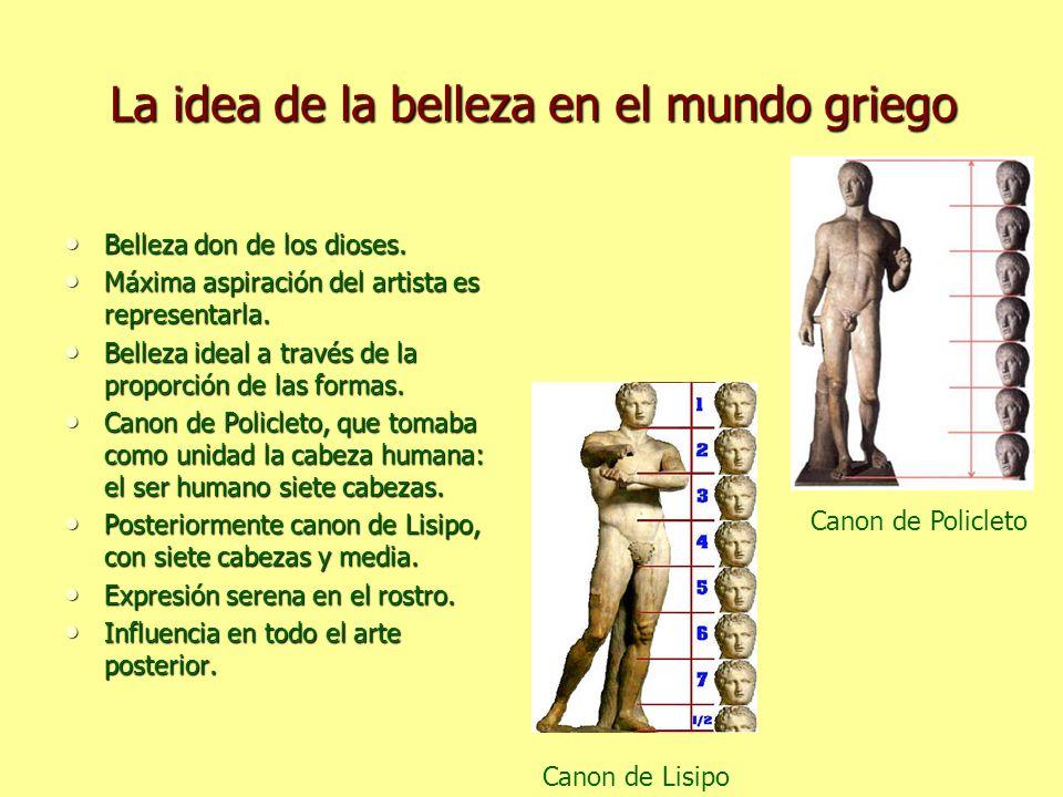 La idea de la belleza en el mundo griego Belleza don de los dioses. Belleza don de los dioses. Máxima aspiración del artista es representarla. Máxima