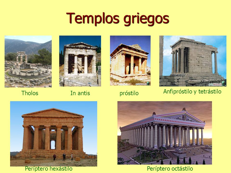 Templos griegos TholosIn antispróstilo Anfipróstilo y tetrástilo Períptero hexástiloPeríptero octástilo