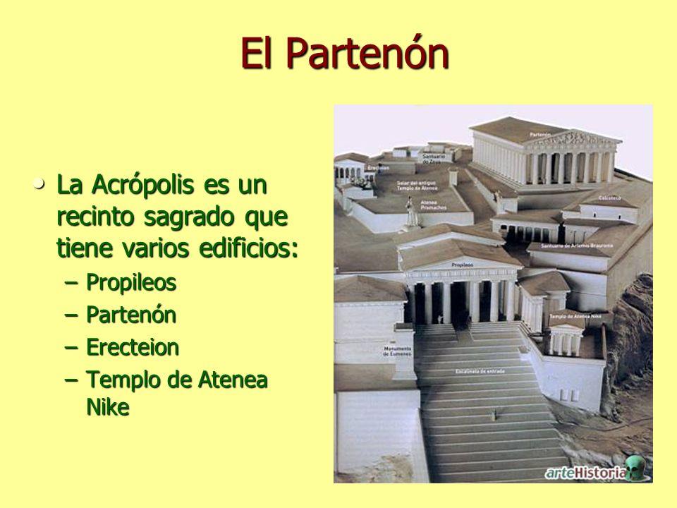 El Partenón La Acrópolis es un recinto sagrado que tiene varios edificios: La Acrópolis es un recinto sagrado que tiene varios edificios: –Propileos –