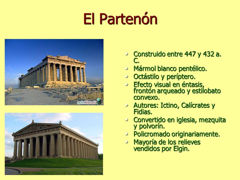 El Partenón Construido entre 447 y 432 a. C. Construido entre 447 y 432 a. C. Mármol blanco pentélico. Mármol blanco pentélico. Octástilo y períptero.