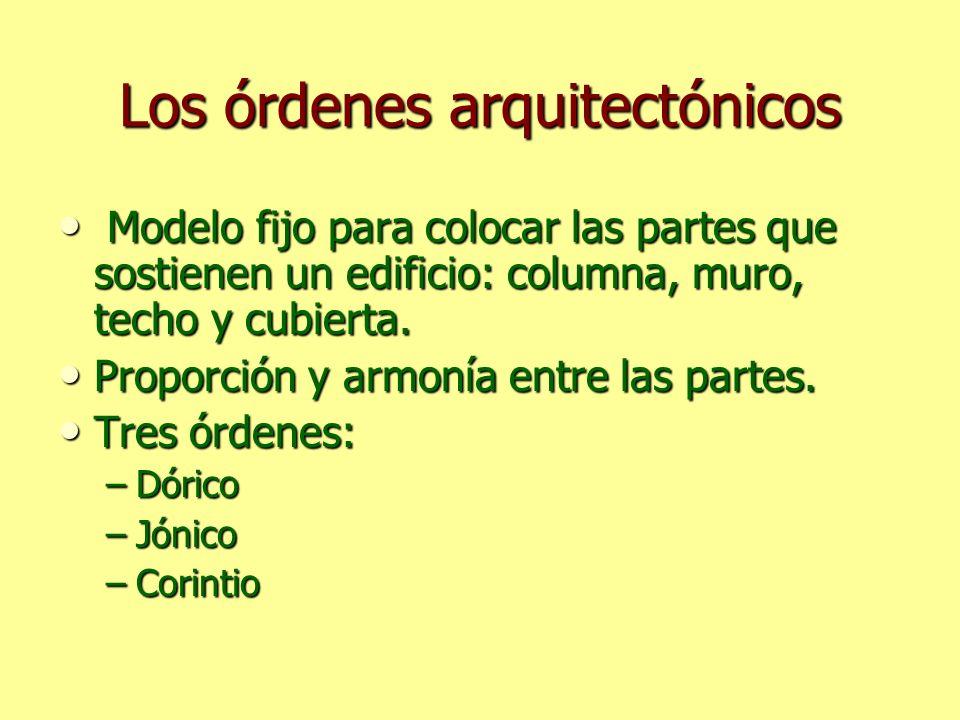 Los órdenes arquitectónicos Modelo fijo para colocar las partes que sostienen un edificio: columna, muro, techo y cubierta. Modelo fijo para colocar l