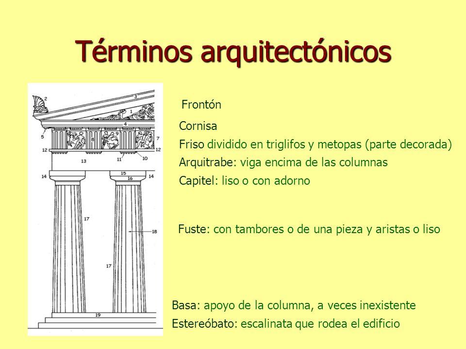 Términos arquitectónicos Estereóbato: escalinata que rodea el edificio Capitel: liso o con adorno Fuste: con tambores o de una pieza y aristas o liso