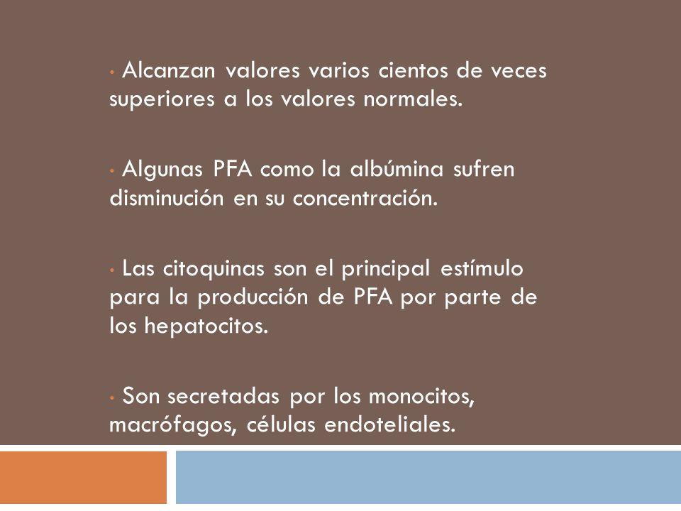 Alcanzan valores varios cientos de veces superiores a los valores normales. Algunas PFA como la albúmina sufren disminución en su concentración. Las c