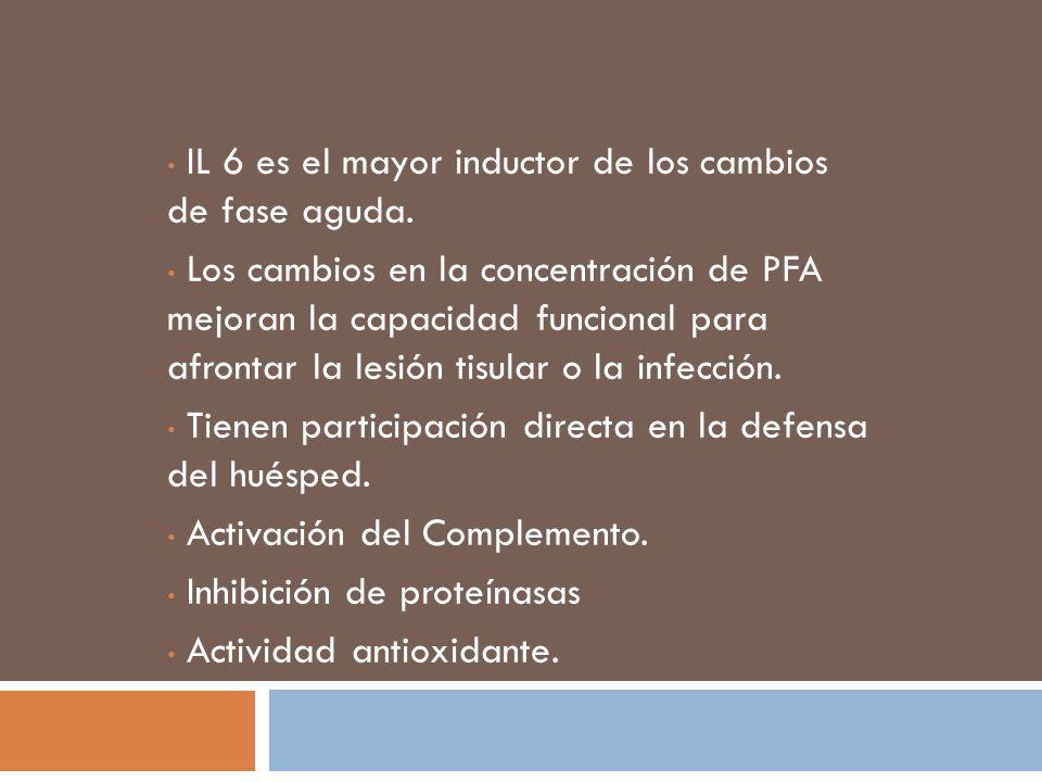 IL 6 es el mayor inductor de los cambios de fase aguda. Los cambios en la concentración de PFA mejoran la capacidad funcional para afrontar la lesión