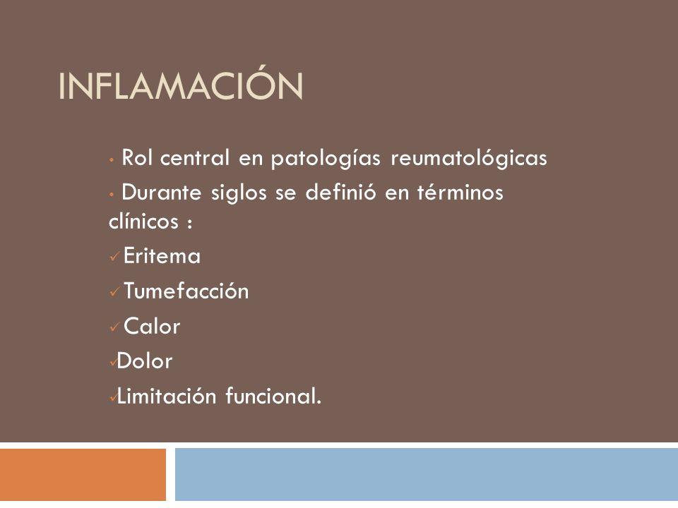 INFLAMACIÓN Rol central en patologías reumatológicas Durante siglos se definió en términos clínicos : Eritema Tumefacción Calor Dolor Limitación funci