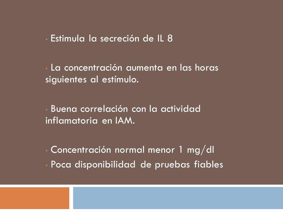 Estimula la secreción de IL 8 La concentración aumenta en las horas siguientes al estímulo. Buena correlación con la actividad inflamatoria en IAM. Co
