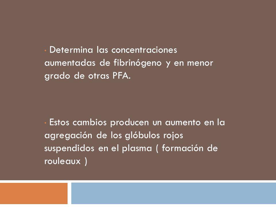 Determina las concentraciones aumentadas de fibrinógeno y en menor grado de otras PFA. Estos cambios producen un aumento en la agregación de los glóbu