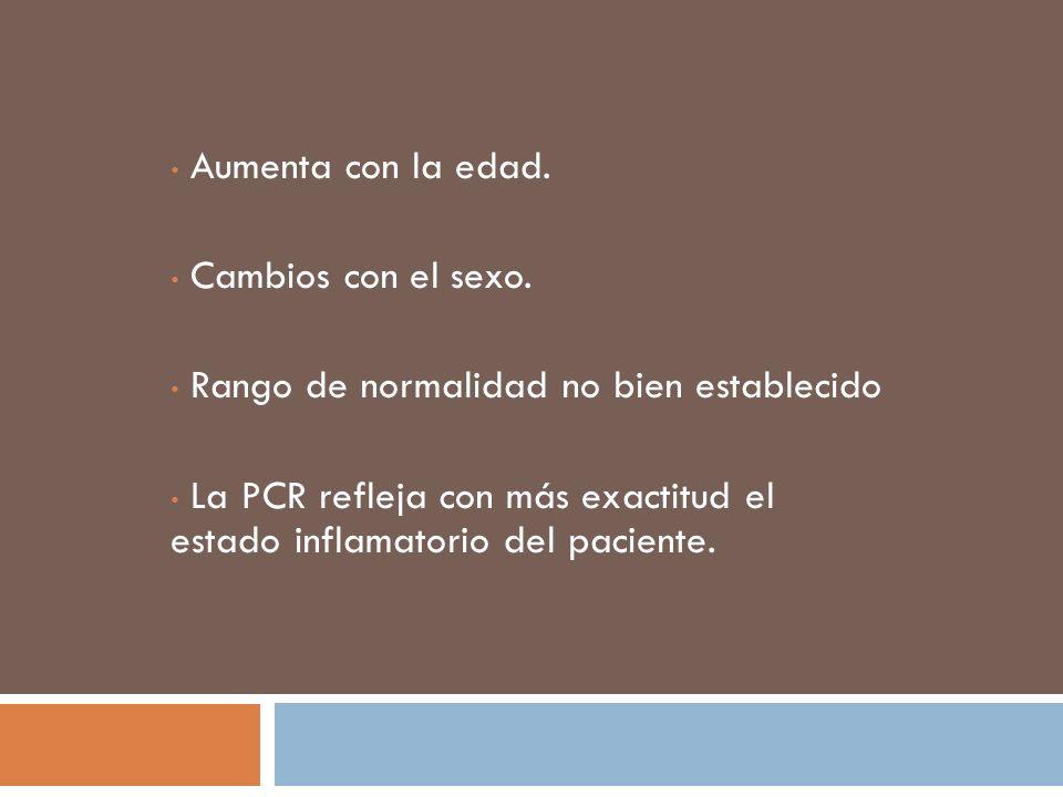 Aumenta con la edad. Cambios con el sexo. Rango de normalidad no bien establecido La PCR refleja con más exactitud el estado inflamatorio del paciente