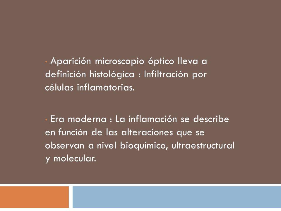 Aparición microscopio óptico lleva a definición histológica : Infiltración por células inflamatorias. Era moderna : La inflamación se describe en func