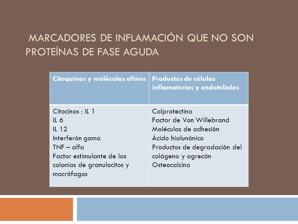 MARCADORES DE INFLAMACIÓN QUE NO SON PROTEÍNAS DE FASE AGUDA Citoquinas y moléculas afinesProductos de células inflamatorias y endoteliales Citocinas