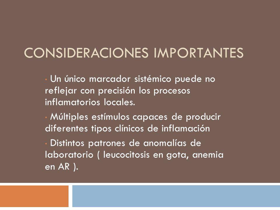 CONSIDERACIONES IMPORTANTES Un único marcador sistémico puede no reflejar con precisión los procesos inflamatorios locales. Múltiples estímulos capace