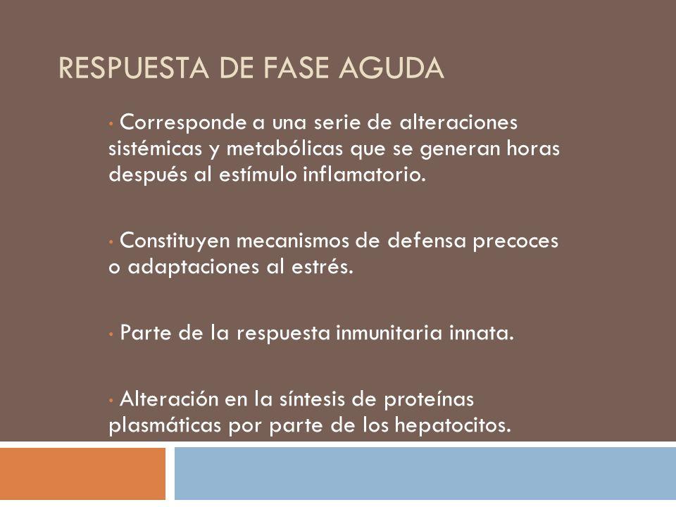 RESPUESTA DE FASE AGUDA Corresponde a una serie de alteraciones sistémicas y metabólicas que se generan horas después al estímulo inflamatorio. Consti