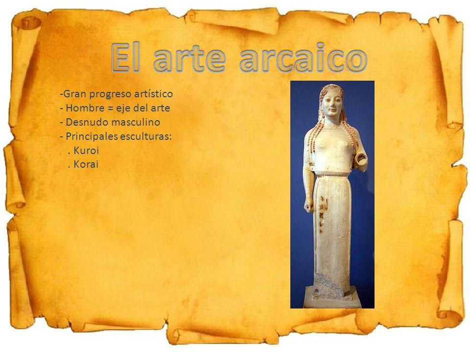 -Gran progreso artístico - Hombre = eje del arte - Desnudo masculino - Principales esculturas:. Kuroi. Korai