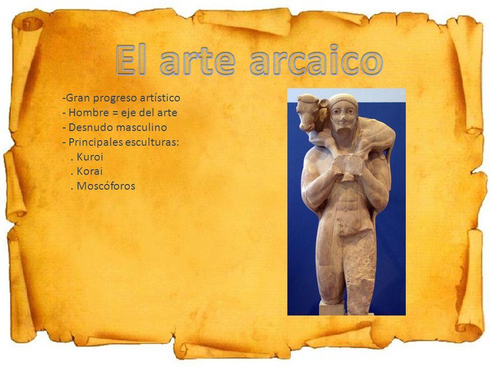 -Gran progreso artístico - Hombre = eje del arte - Desnudo masculino - Principales esculturas:. Kuroi. Korai. Moscóforos