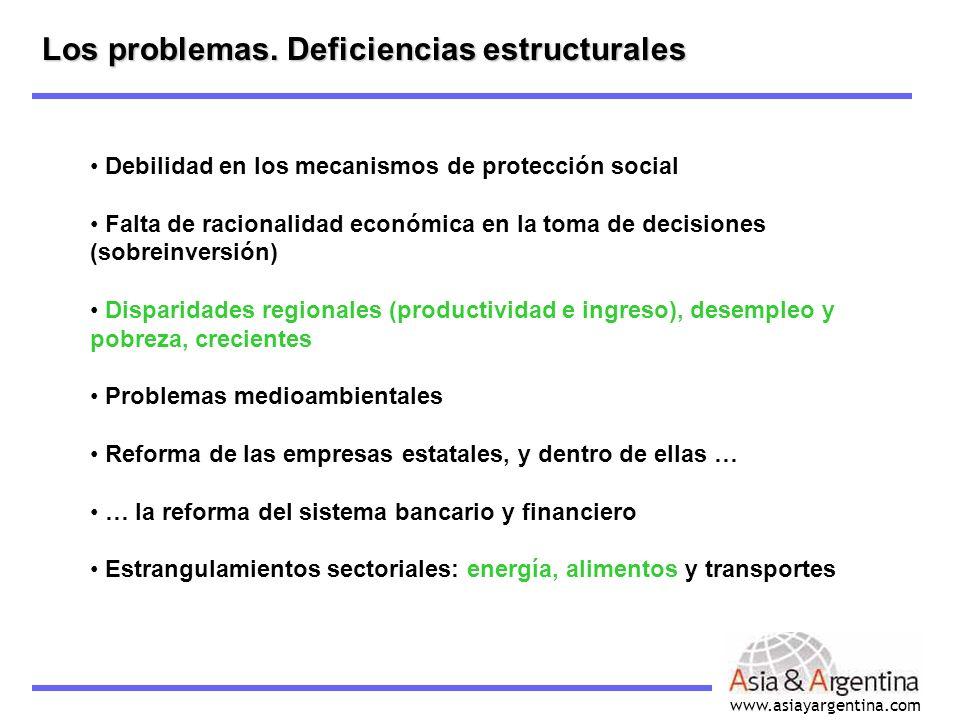 www.asiayargentina.com Debilidad en los mecanismos de protección social Falta de racionalidad económica en la toma de decisiones (sobreinversión) Disp