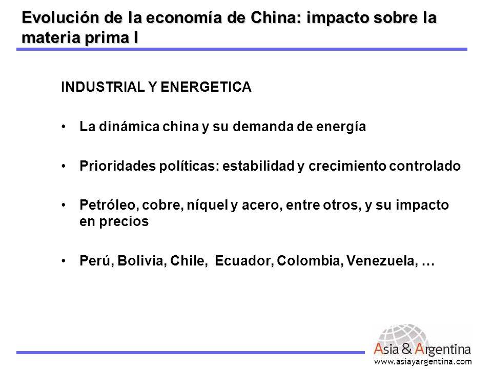 www.asiayargentina.com INDUSTRIAL Y ENERGETICA La dinámica china y su demanda de energía Prioridades políticas: estabilidad y crecimiento controlado P