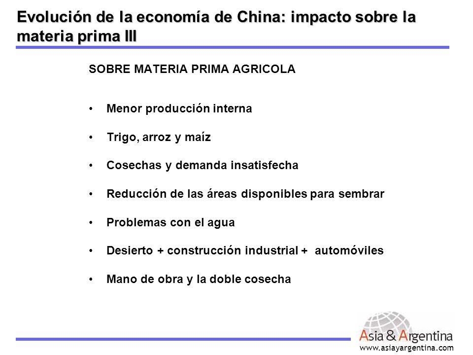 www.asiayargentina.com SOBRE MATERIA PRIMA AGRICOLA Menor producción interna Trigo, arroz y maíz Cosechas y demanda insatisfecha Reducción de las área