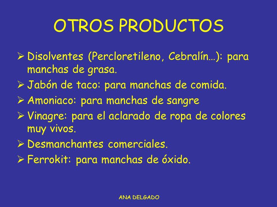 ANA DELGADO OTROS PRODUCTOS Disolventes (Percloretileno, Cebralín…): para manchas de grasa.