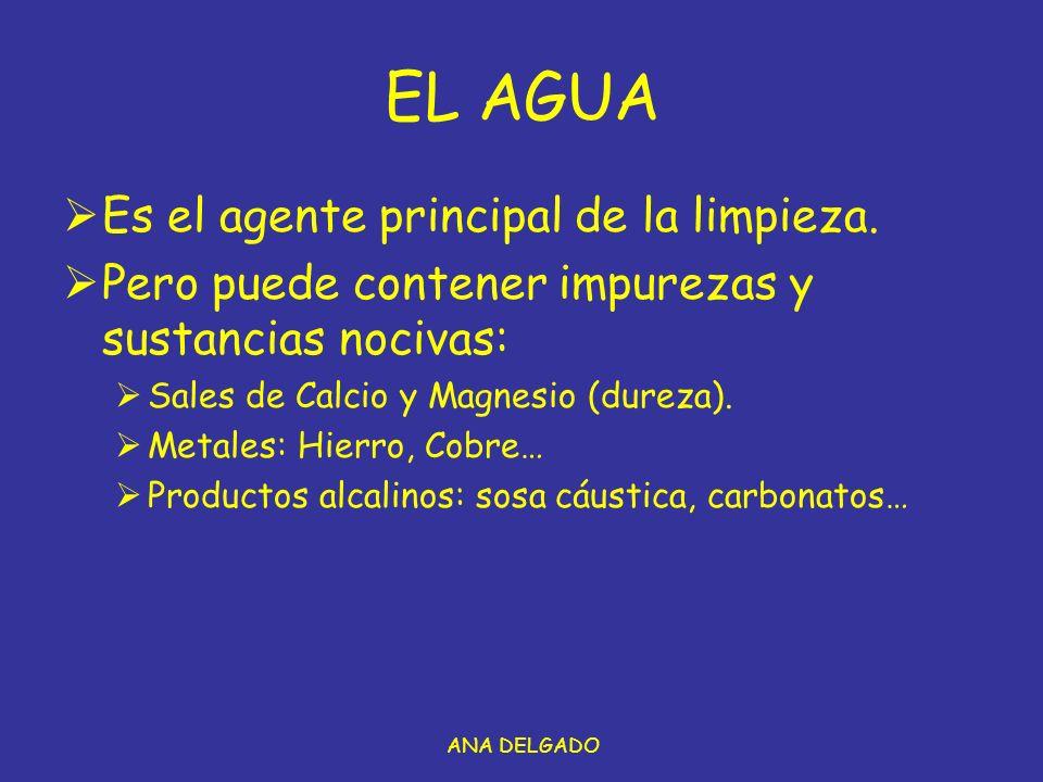 ANA DELGADO EL AGUA Es el agente principal de la limpieza.