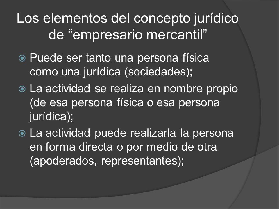 Los elementos del concepto jurídico de empresario mercantil La actividad se realiza en forma organizada, es decir, a través de una empresa; La actividad se realizar en forma profesional, es decir en forma habitual; constituye el modus vivendi del empresario; Se trata de una actividad de naturaleza económica;