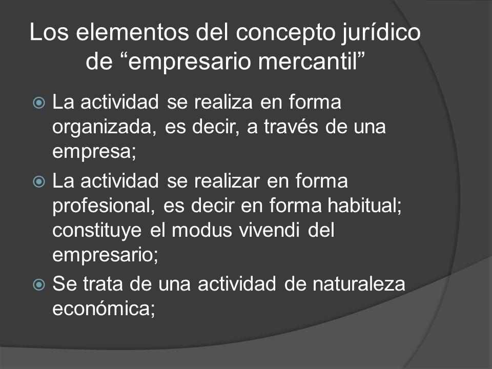 Los elementos del concepto jurídico de empresario mercantil Dicha actividad puede estar dirigida tanto a la producción (industria) como a la mediación (comercio en sentido estricto) de bienes y/o servicios; Tanto la producción como la mediación de esos bienes y servicios debe tener como destino al mercado,