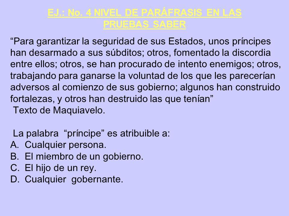 EJ.: No. 4 NIVEL DE PARÁFRASIS EN LAS PRUEBAS SABER Para garantizar la seguridad de sus Estados, unos príncipes han desarmado a sus súbditos; otros, f
