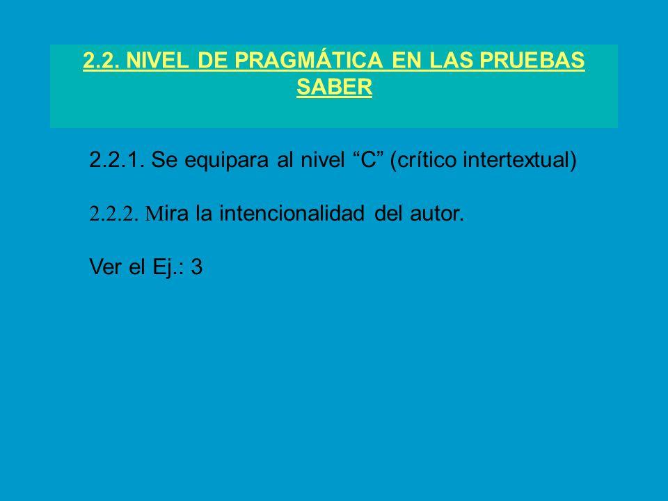 2.2. NIVEL DE PRAGMÁTICA EN LAS PRUEBAS SABER 2.2.1. Se equipara al nivel C (crítico intertextual) 2.2.2. M ira la intencionalidad del autor. Ver el E