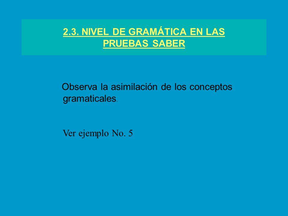 2.3. NIVEL DE GRAMÁTICA EN LAS PRUEBAS SABER Observa la asimilación de los conceptos gramaticales. Ver ejemplo No. 5