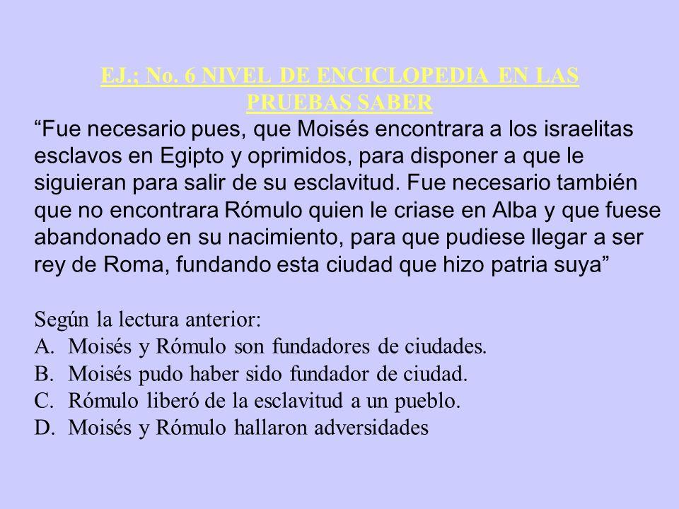 EJ.; No. 6 NIVEL DE ENCICLOPEDIA EN LAS PRUEBAS SABER Fue necesario pues, que Moisés encontrara a los israelitas esclavos en Egipto y oprimidos, para