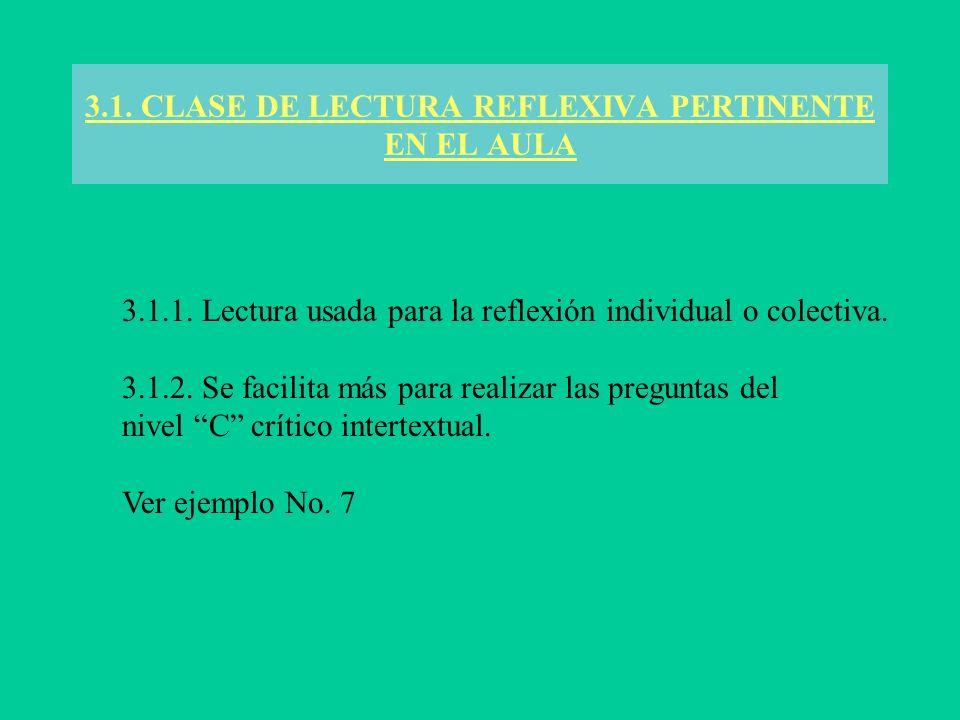 3.1. CLASE DE LECTURA REFLEXIVA PERTINENTE EN EL AULA 3.1.1. Lectura usada para la reflexión individual o colectiva. 3.1.2. Se facilita más para reali